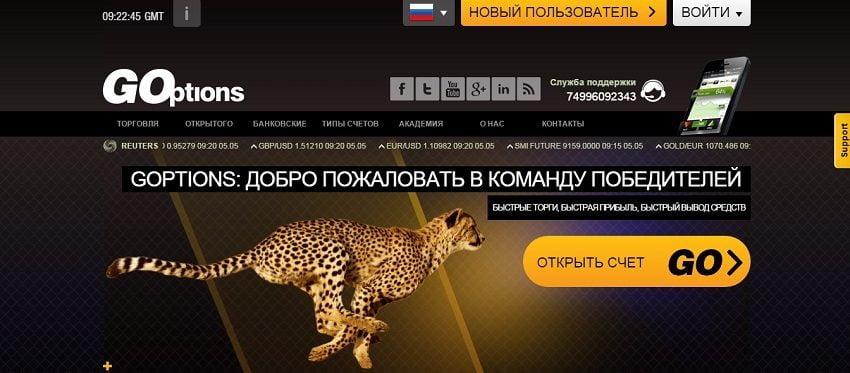 Обзор брокера Goptions.com