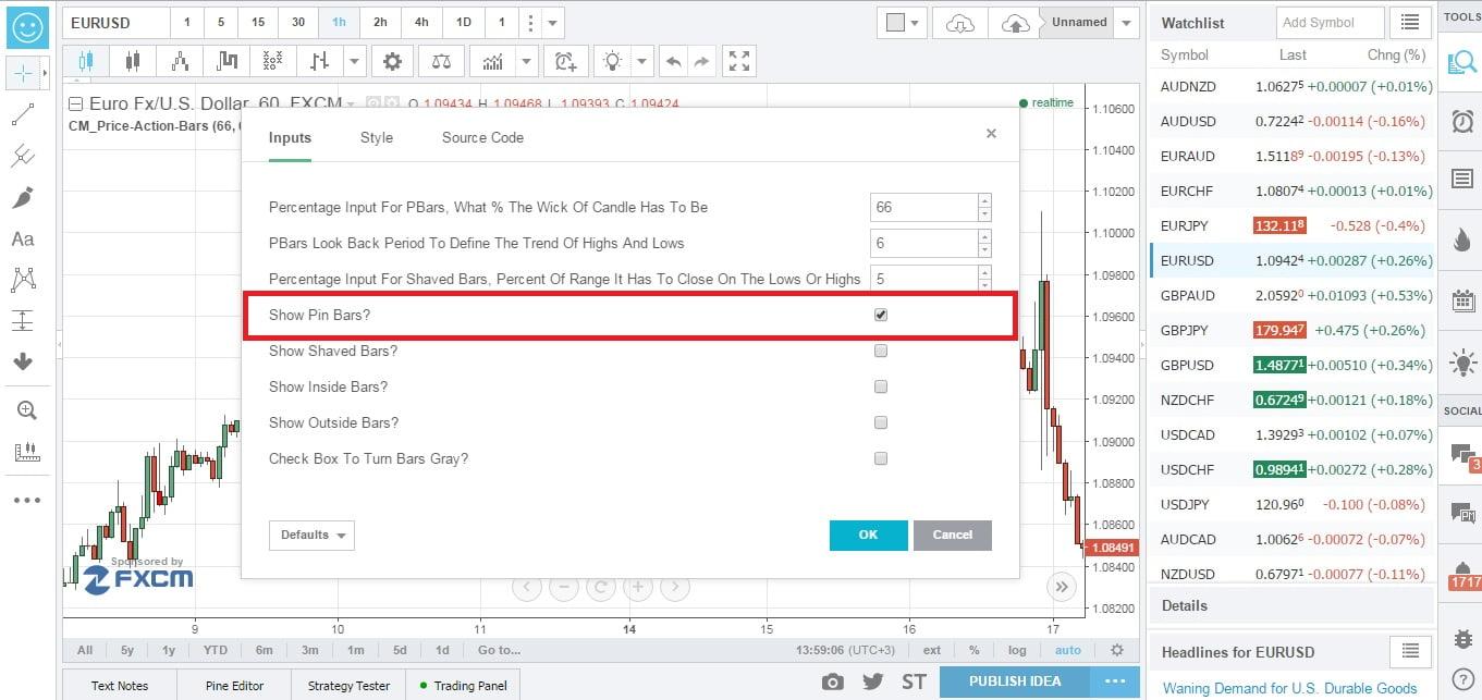 Настройка индикатора Price Action Bars Price Patterns