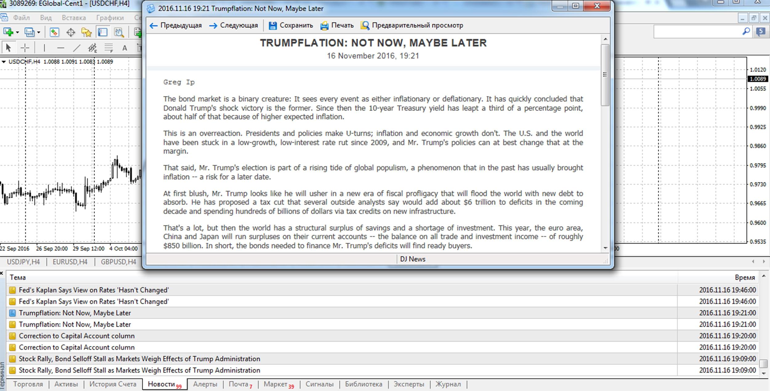 Экономические новости на платформе Metatrader 4
