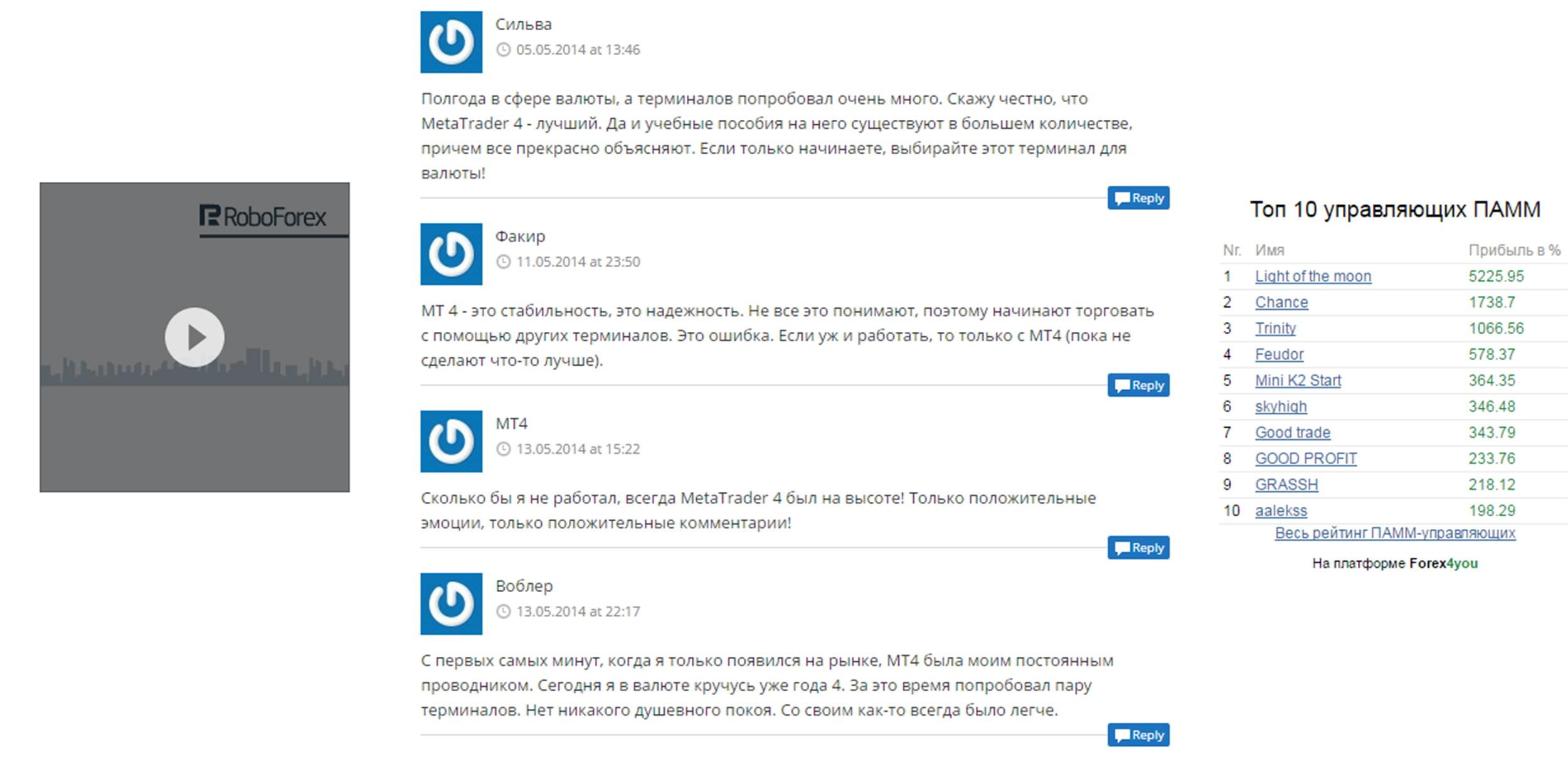 Отзывы о платформе Metatrader 4