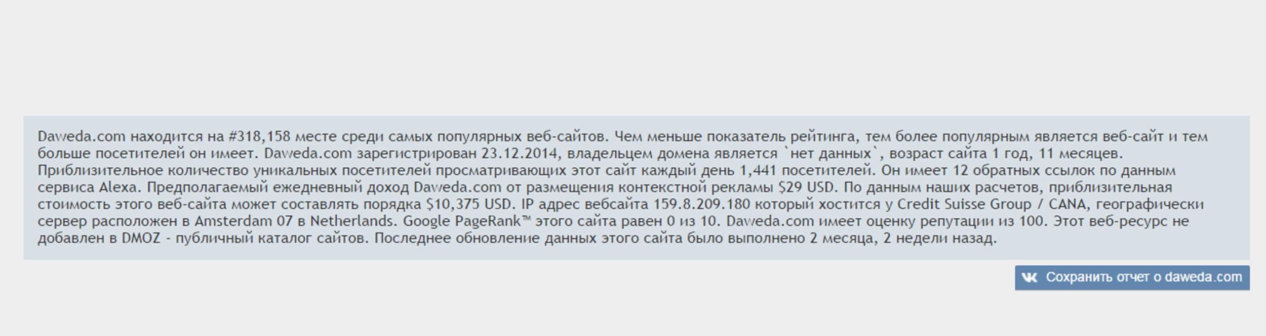 Отчет проверки сайта Daweda exchange на rankw.ru