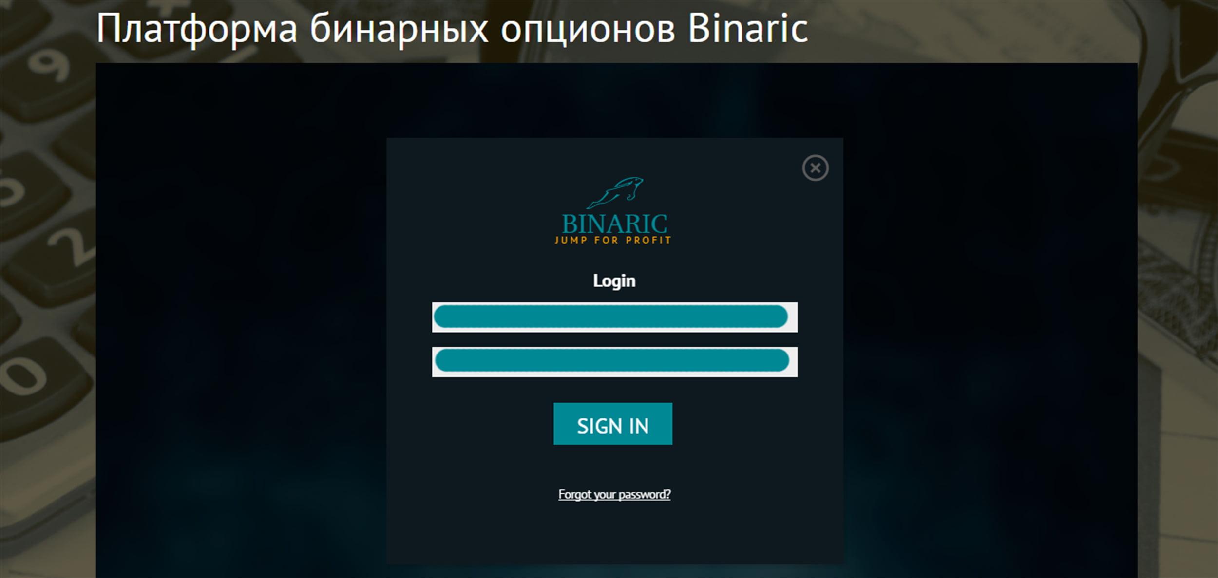 Регистрация на Binaric.org