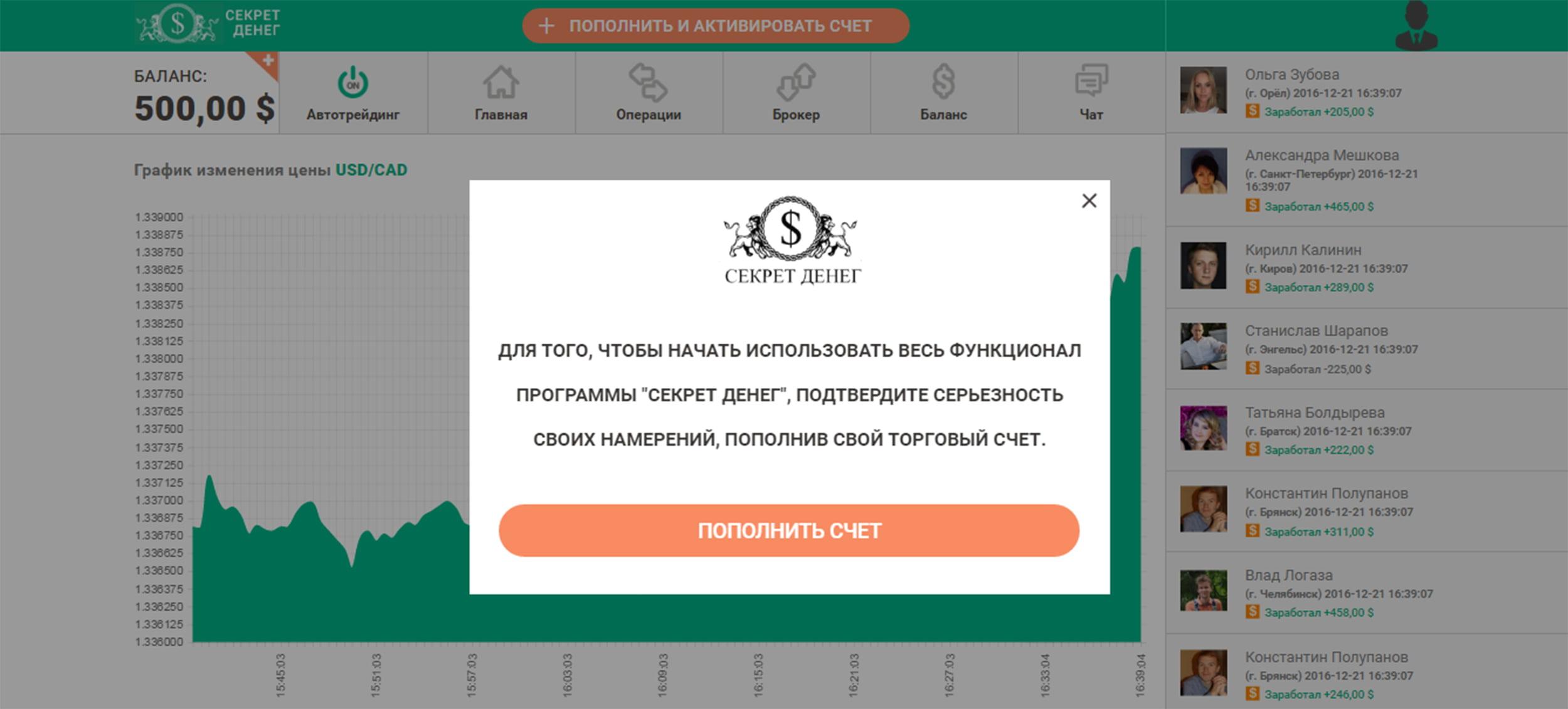 Личный кабинет сайта Секрет денег