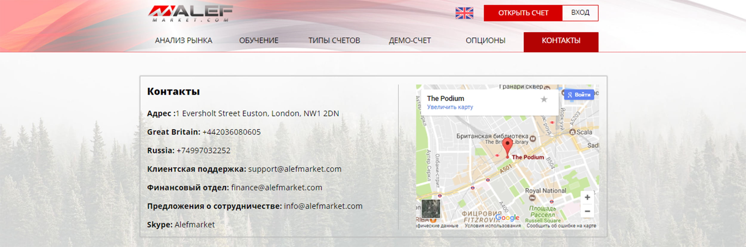 Контактная информация брокера AlefMarket