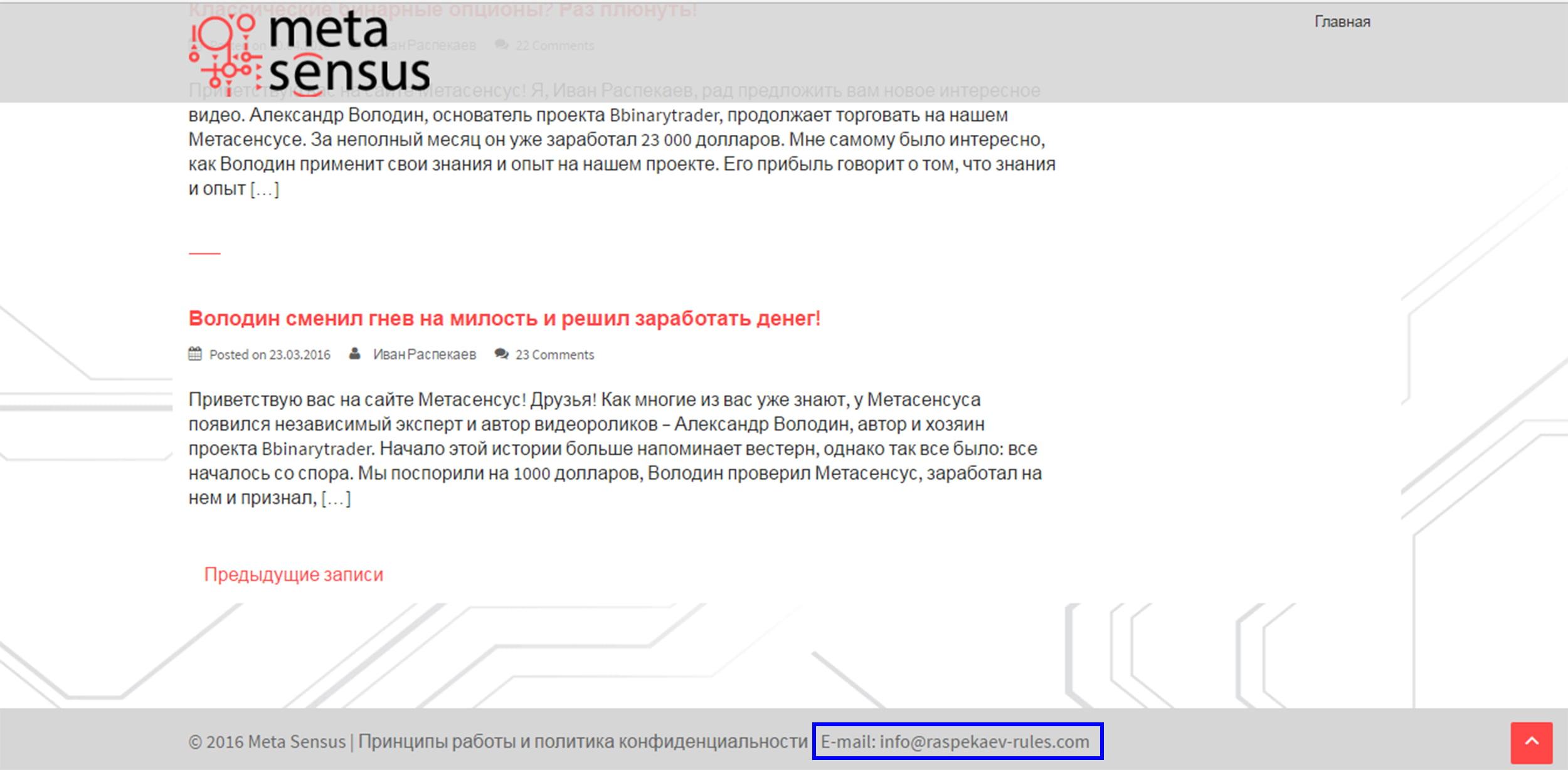 Контактная информация MetaSensus