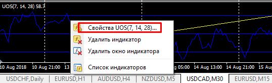 Выведение на экран меню настроек индикатора