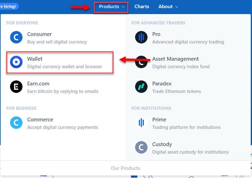 Переход на сайт кошелька для хранения цифровой валюты