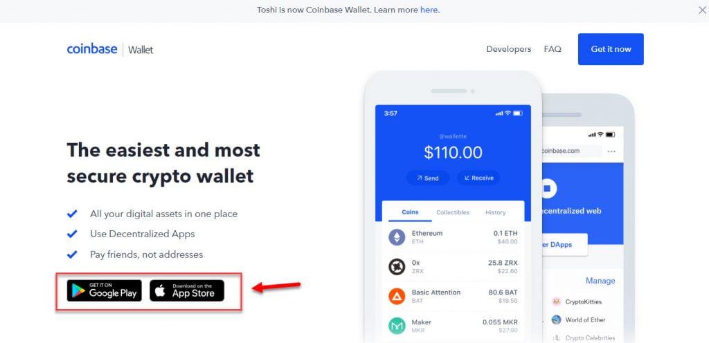 Кнопки для скачивания мобильного приложения Coinbase Wallet
