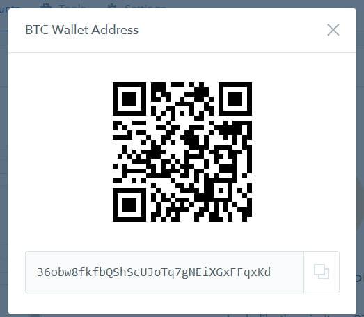 QR-код и адрес криптовалютного кошелька