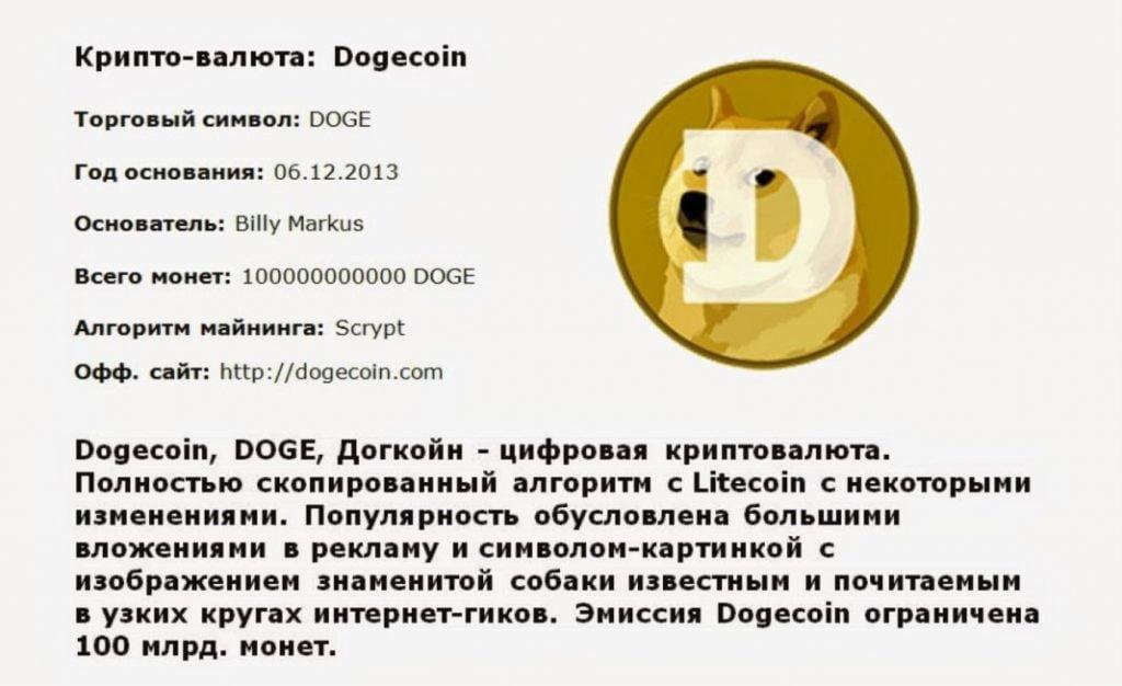 Краткая характеристика Dogecoin