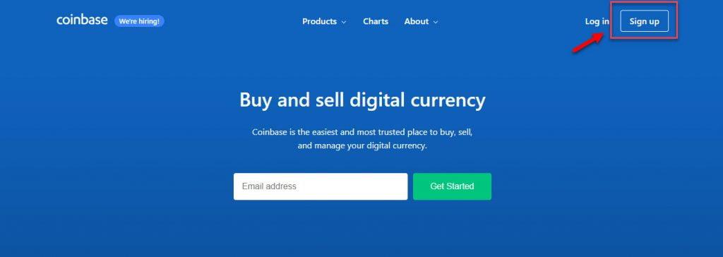 Начало регистрации на проекте Coinbase
