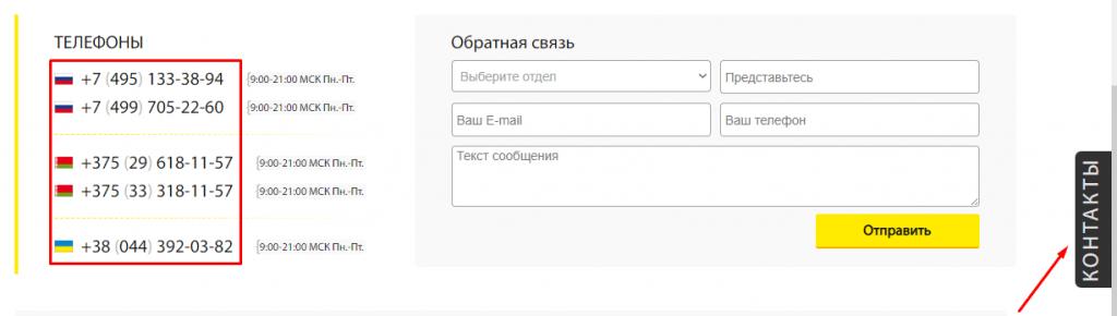 Контактные номера брокера
