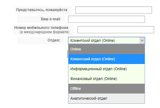 Форма для заполнения для активации онлайн-чата