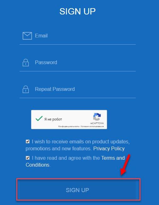 Ввод почты и пароля