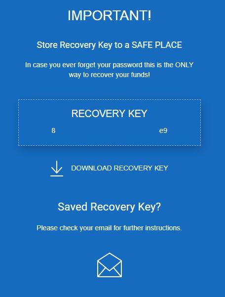 Сохранение ключа восстановления