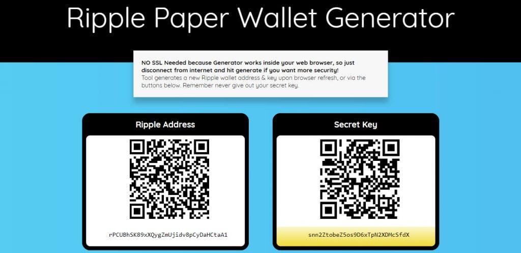 Интерфейс RipplePaperWallet.com