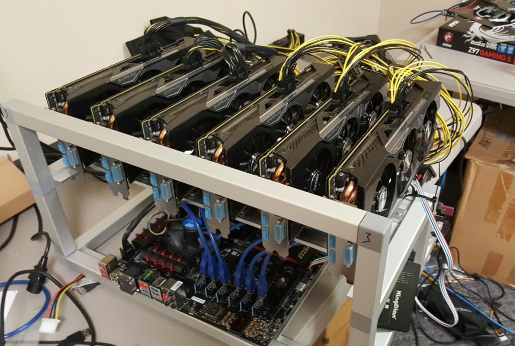 Пример фермы для майнинга Bitcoin