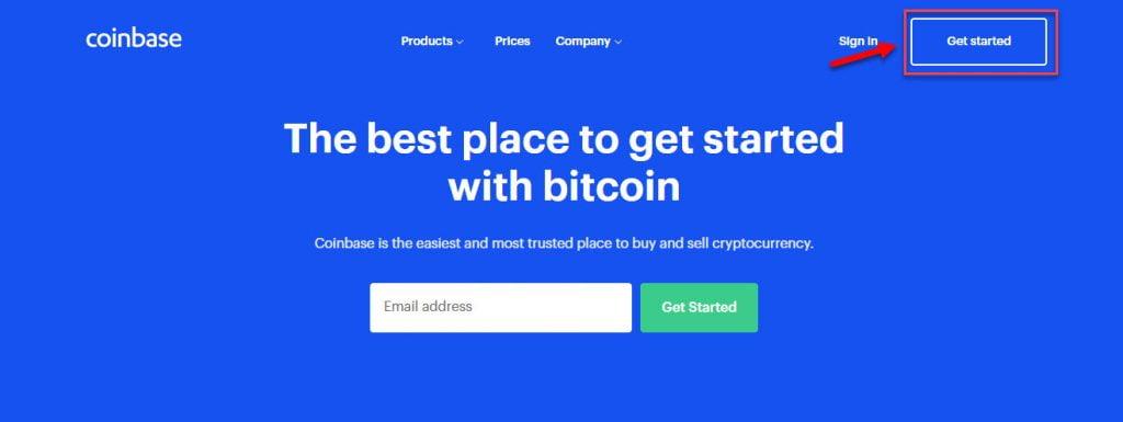 Начало регистрации на Coinbase